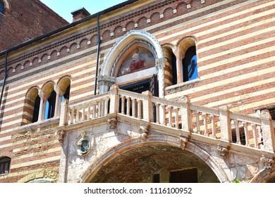 """Staircase of Reason"" in courtyard the medieval ""Palazzo della Ragione"" in Verona, Italy"