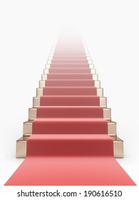 Staircase with red carpet 3D. Concept of success