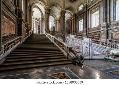 The Staircase of the Royal Palace of Caserta by Vanvitelli is the perfect synthesis of baroque and neoclassical style. Caserta, Italy, October 2019