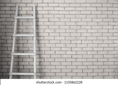 the staircase is set against the wall