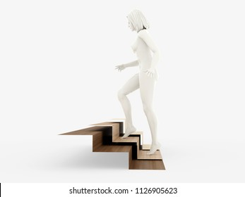 Staircase. Size ratios. 3D model