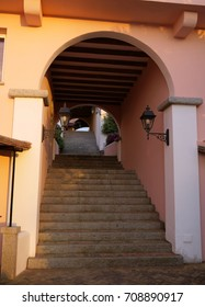 Staircase in a small street in Porto Rotondo, Italy