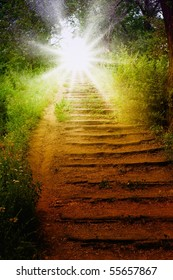 Staircase with sun, way to heaven