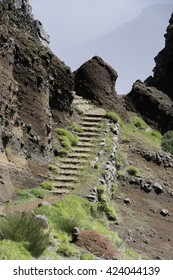 staircase tot the  high mountains at madeira island called pico arieiro, the top is 1818 meters above sea level