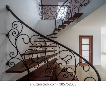 Staircase in wooden style.