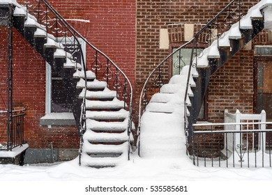 Staircases covered by snow In Montreal