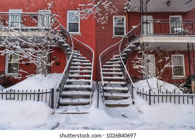 Staircases covered in snow In Montreal