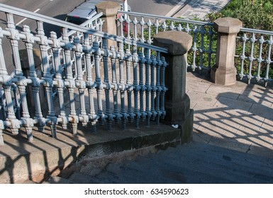 Stairs with ancient railings