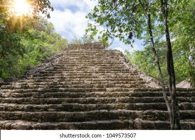 Stairs of an ancient stone pyramid in the Mayan ruins of Coba, Yucatan, Mexico