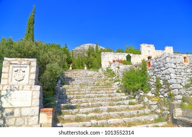 Stairs ascending to the ruins of an old Venetian Villa in Trsteno, Dalmatian coast, Croatia