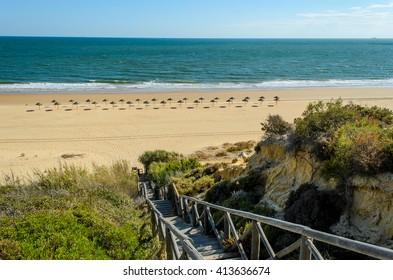 Stairs to the beach of Mazagon , Huelva , Atlantic coast , Andalusia , Spain
