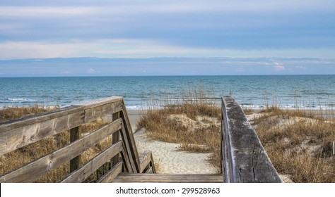 Stairs To The Beach. Wooden stairway leads to the wide sandy beaches of South Carolina's Grand Strand. Myrtle Beach, South Carolina.