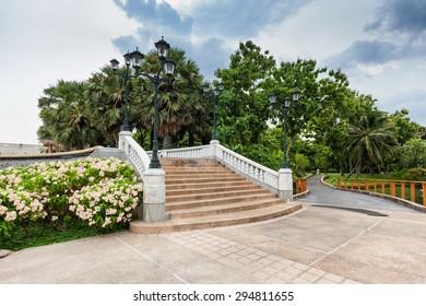 Stairs in Benjakiti Park in Bangkok