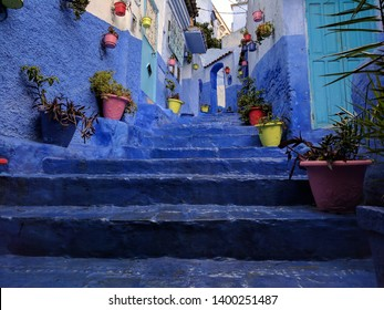 Stairs of the blue town Chefchaouen