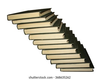 stairs from books isolated on white background