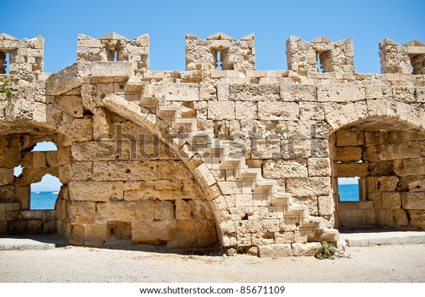 Stairs at the castle of Rhodes (Rodos)