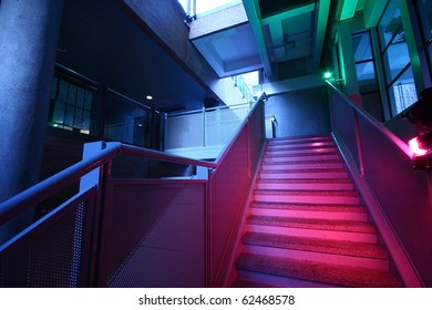 Stairs with colorful lighting and nobody image