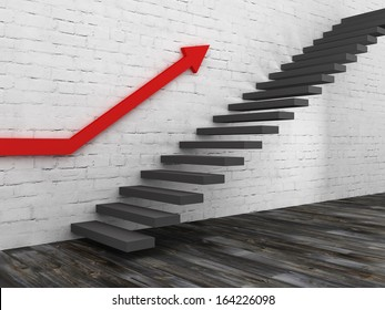 Stairs up concept with red arrow