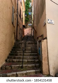 Stairs at the corner of Rue du Suquet in Cannes, France.
