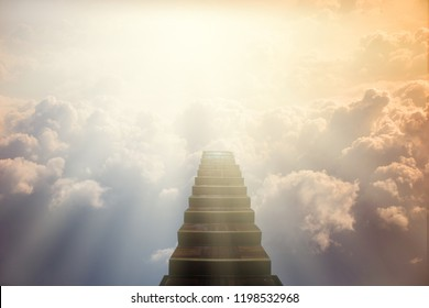 Stairs to Doors Paradise - concept on religions Faith, forgiveness to God,Heavenly gate sunbeam gold motivation imagination