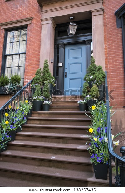 Stairs to a doorway of an old apartment, Manhattan, New York City