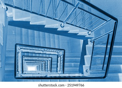 stairs down landscape in a building, closeup of photo