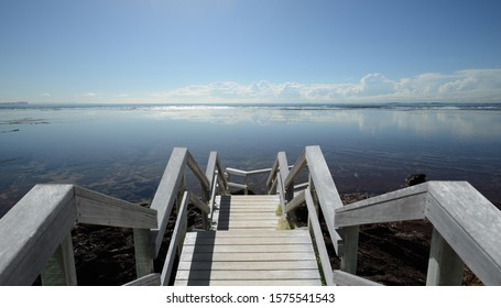 Stairs down to ocean water , Water Fields