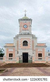 stairs and front facade of historic cathedral on plaza in fajardo puerto rico