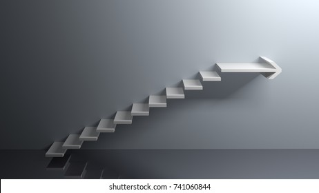 Stairs are going from the floor upward and the last step is a big arrow to the right infinite - 3D rendering