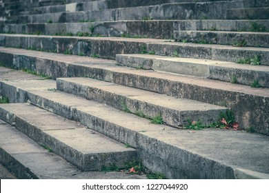 Stairs of the Grandstand of the Zeppelin Field on the Nazi party rally grounds in Nuremberg, Germany.