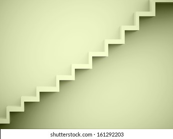 Stairs green rendered on the wall