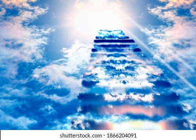 Stairs to Heaven. Heaven's gate. Religious background. Steps to the sky. - Shutterstock ID 1866204091