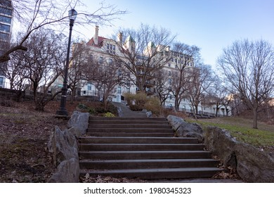 Stairs Up a Hill at Morningside Park during the Winter with Bare Trees in Morningside Heights of New York City