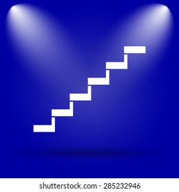 Stairs icon. Flat icon on blue background.