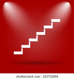Stairs icon. Flat icon on red background.