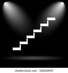 Stairs icon. Internet button on black background.