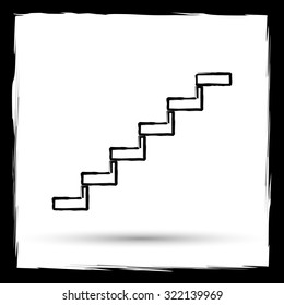 Stairs icon. Internet button on white background. Outline design imitating paintbrush.
