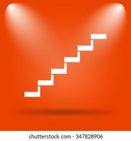 Stairs icon. Internet button on orange background.
