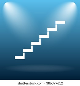 Stairs icon. Internet button on blue background.