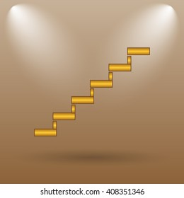 Stairs icon. Internet button on brown background.