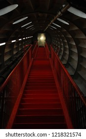 Stairs inside Atomium building in Brussels