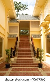Stairs lead up to a corridor