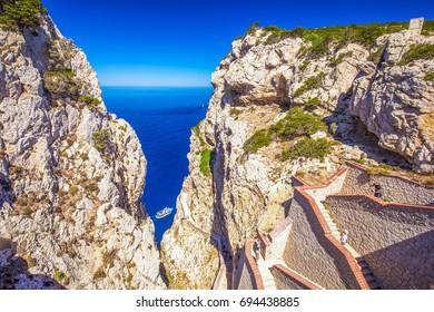 Stairs leading to the Cave of Neptune (Neptune's Grotto), in Capo Caccia cliffs, Alghero, Sardinia, Italy