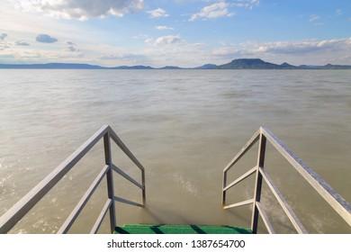 Stairs leading into lake Balaton in Hungary