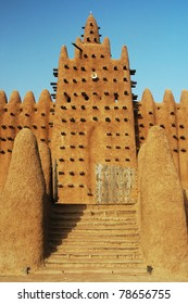 Stairs leading up to a minaret of the Djenne mud mosque in Mali