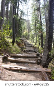 Stairs leading to Rainbow Falls in Devil's Postpile National Monument, California.