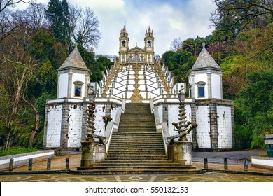 Stairs Leading to the Sanctuary of Bom Jesus Do Monte in Tenoes, Braga, Portugal