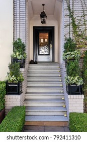 stairs leading up to a secured front black door flanked with green plants