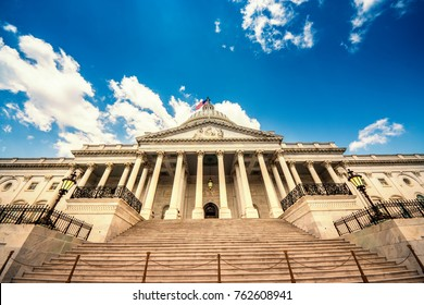 Stairs leading up to the United States Capitol Building in Washington DC - East Facade of the famous US landmark.
