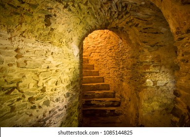 stairs in medieval cellar